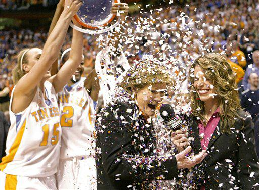 pat summitt is showered with confetti after the UT coach won her 1,000th game again the Georgia Bulldogs this past Thursday night.