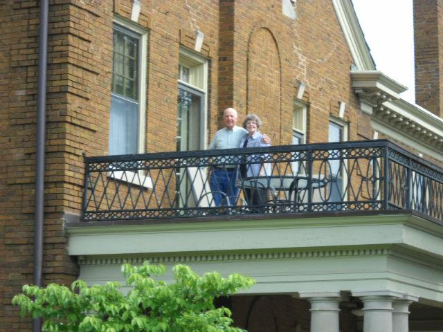 Patti & Don on their private terrace in the Osage room at the Kennedy Mansion Bed & Breakfast