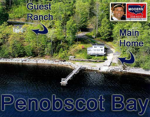 aerial view of 526 Shore Road, Northport Maine, mooers realty, penobscot bay