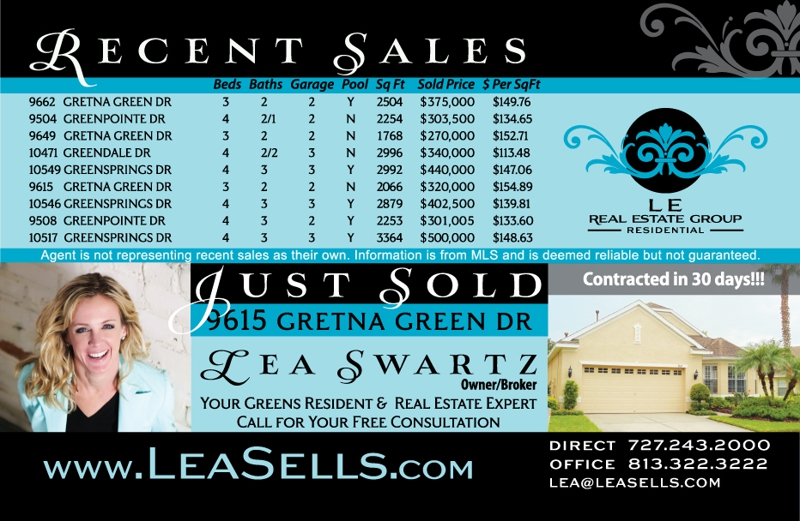 Westchase The Greens 4th Quarter Sales 2011