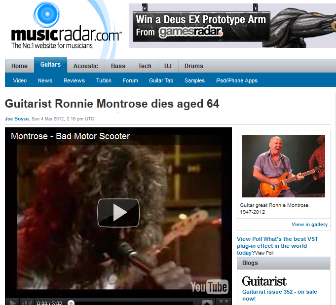 rip ronnie montrose bad motor scooter rock candy the guitar great who introduced us. Black Bedroom Furniture Sets. Home Design Ideas