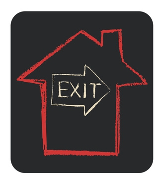An Exit Sign Drawn Inside Another Drawing of a Red House
