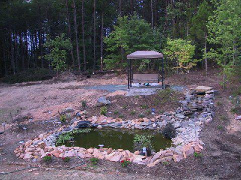 A newly installed Koi pond and waterfall