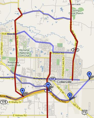 Collierville, Tennessee Driving Routes