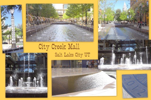 Sun shade and water features at city creek mall in utah for Fish stores in utah