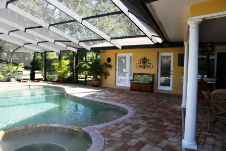 Pool screened in at 6821 Date Palm Ave