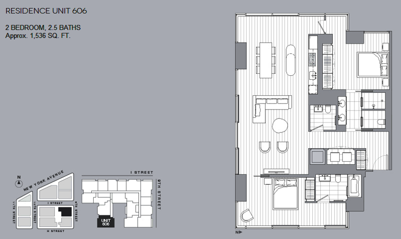 Unit 606 2 BR floorplan City Center DC condos