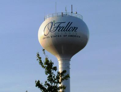 New O'Fallon Water Tower with new Logo.