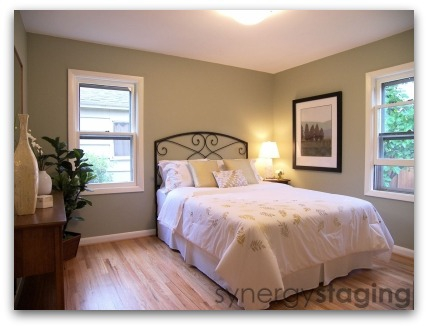 Bedroom Staged by Synergy Staging in Portland