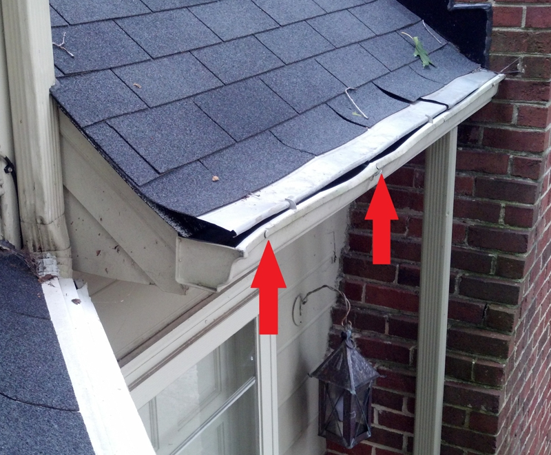 Ladder damage to gutter section
