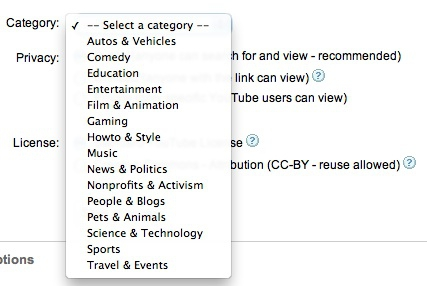 Dear YouTube - do you think you could come up with some more categories for videos?