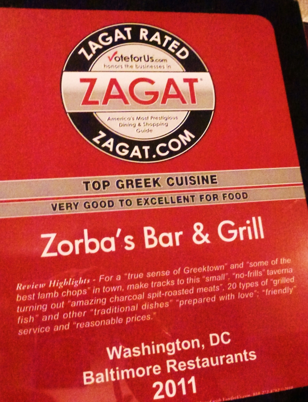 zagat rated Zorba's