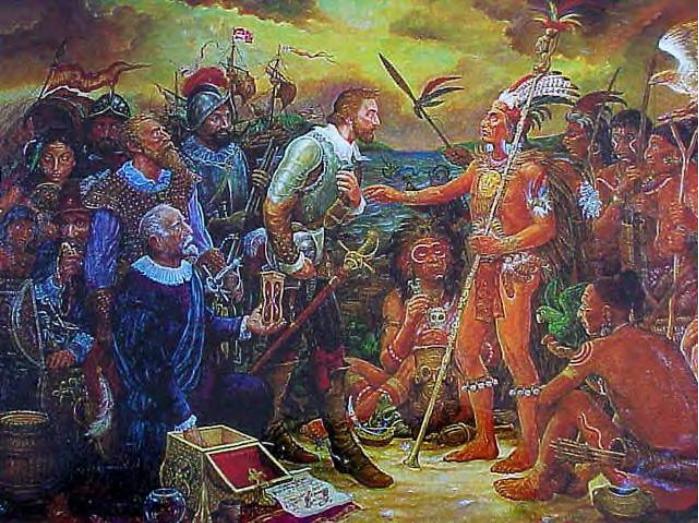 Juan Ponce de León greets Chief Agueybana