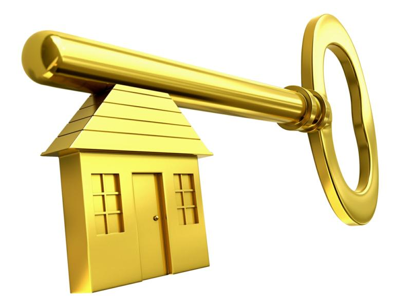 Gold Key with house