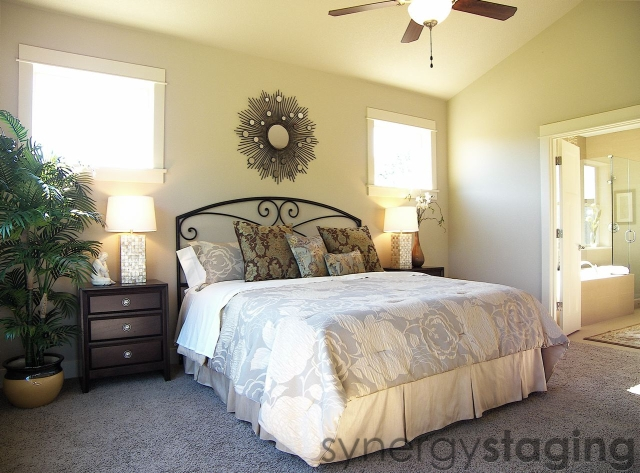 Bedroom staged by Synergy Staging in West Linn Oregon