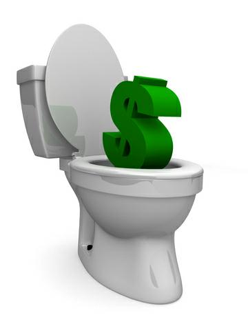 dollar sign being flushed down the toilet