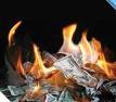 money burning on fire
