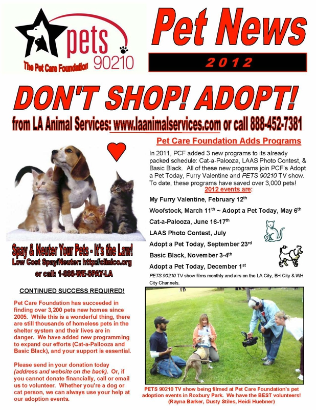 pets 90210 newsletter page 1