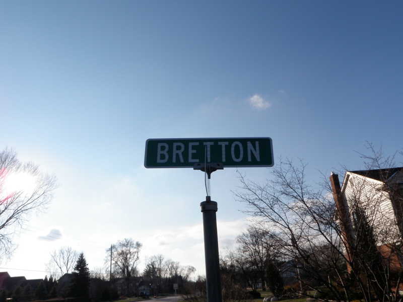 Bretton Street Sign Livonia Michigan