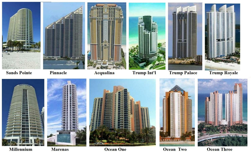 28 luxury oceanfront condominiums are in Sunny Isles Beach on the beach.