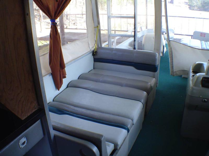 Party Hut Pontoon Boat For Sale Aluminum Deck floor, permanent hard top, galley kitchen