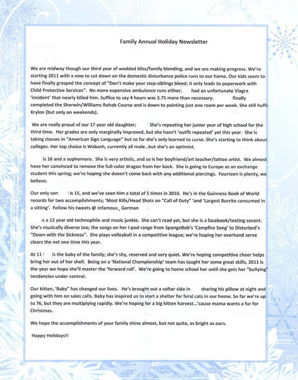 Classic Christmas Newsletter Protected The Innocent