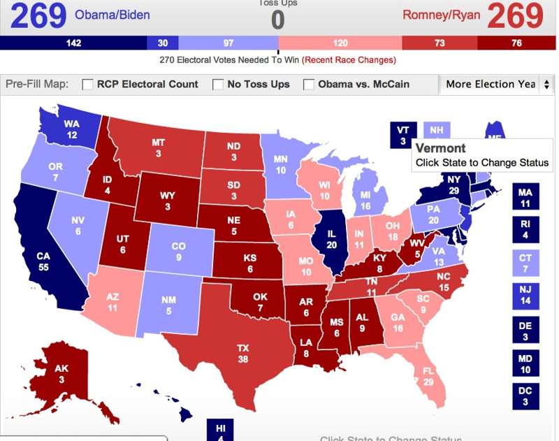 Can the Electoral College be tied between Obama and Romney