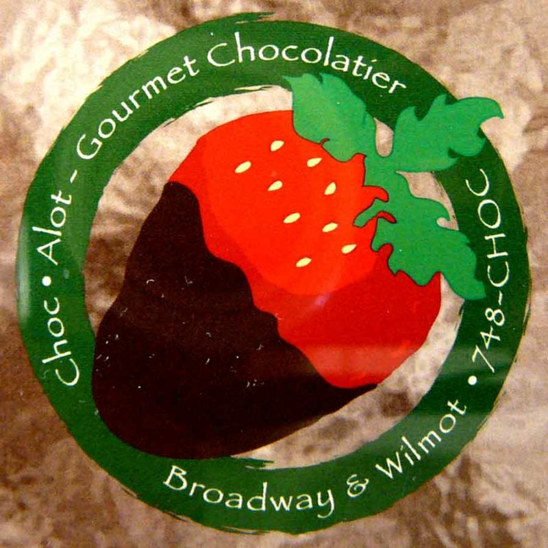 Choc-Alot logo invites you to splurge a little...