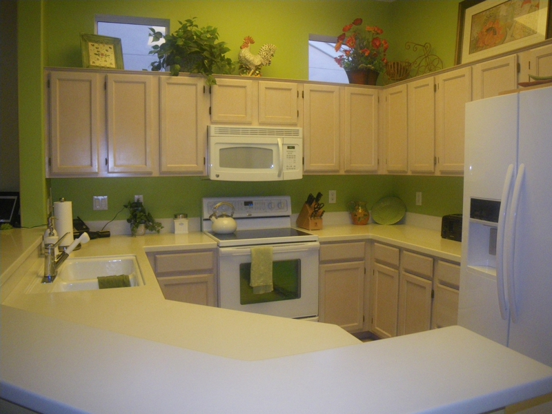 Colorful kitchen with new Corian counter
