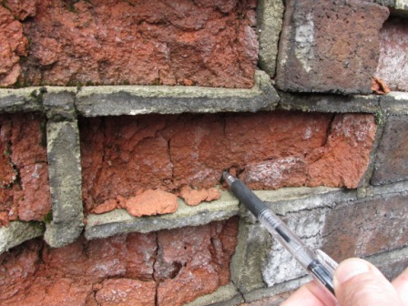Close up of spalling bricks