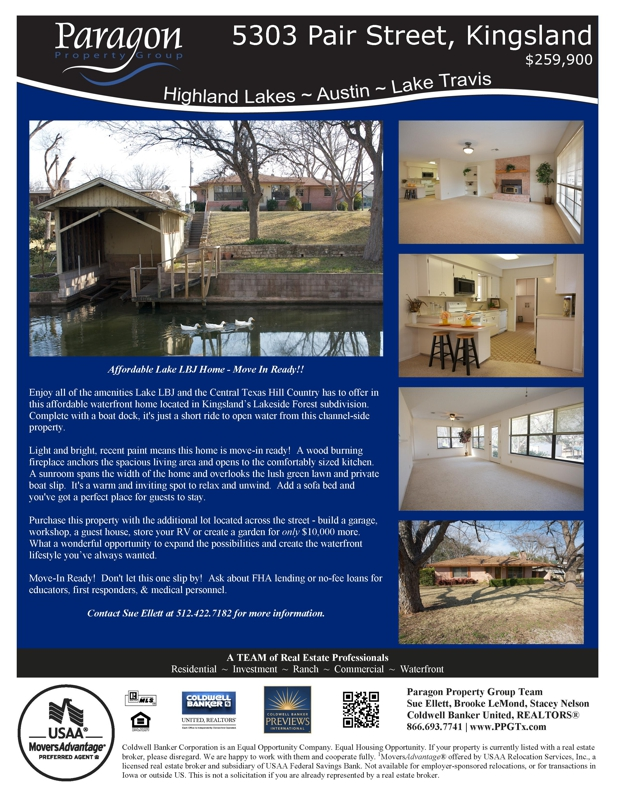 5303 Pair Street Kingsland TX Lake LBJ Home for Sale