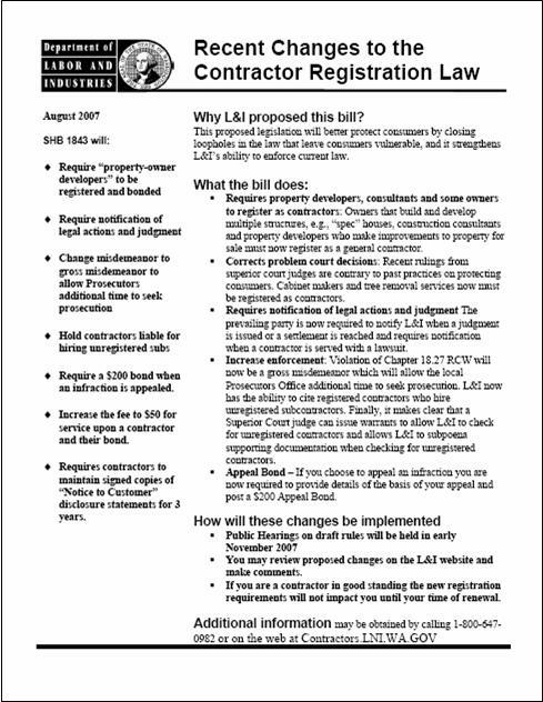 L&I Info Sheet about Changes to RCW 18.27