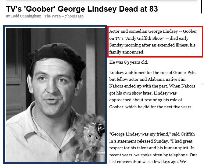 Goober - George Lindsey dies at age 83