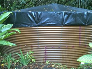 water catchment tank in Haiku Maui HI