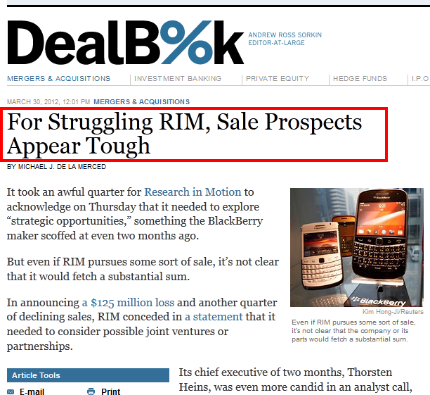 Blackberry RIM - Deal Book NYT
