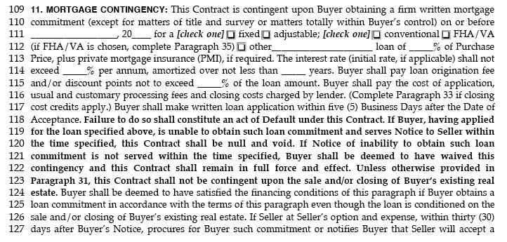 earnest money deposit loan contingency