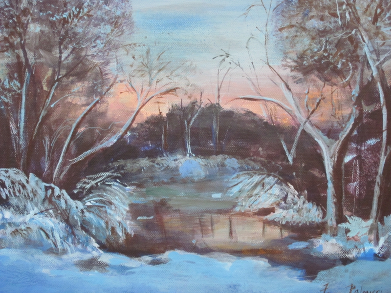 Winter on the Charles Painting by Frances Palmieri