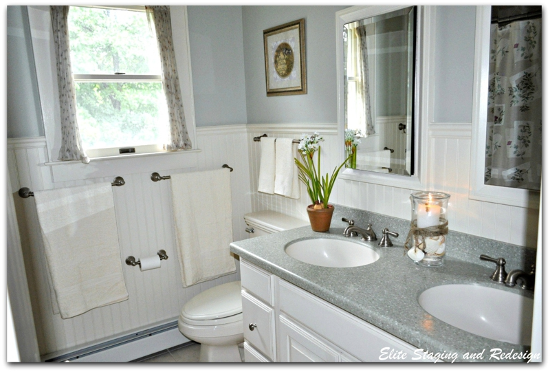 5 budget bathroom transformations by a morris county stager for Staging bathroom ideas