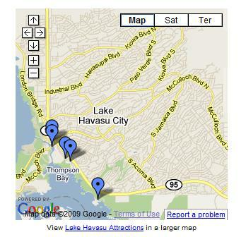 Google Maps' multiple locations map in Lake Havasu City, AZ