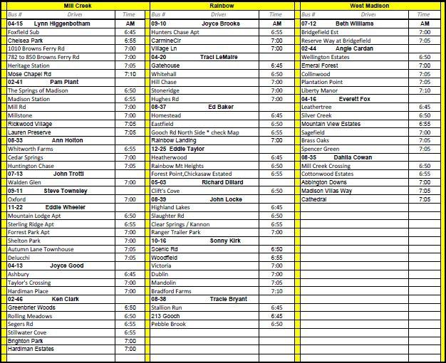 Madison Alabama Elementary School Bus Schedule 2011