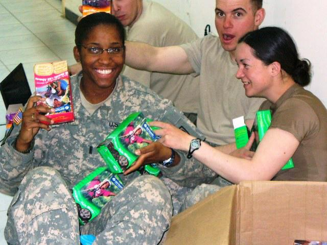 troops receiving cookies