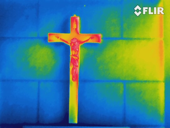 Infrared Thermal Image of Jesus on the Cross