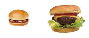 fast food burgers 20 years ago and now