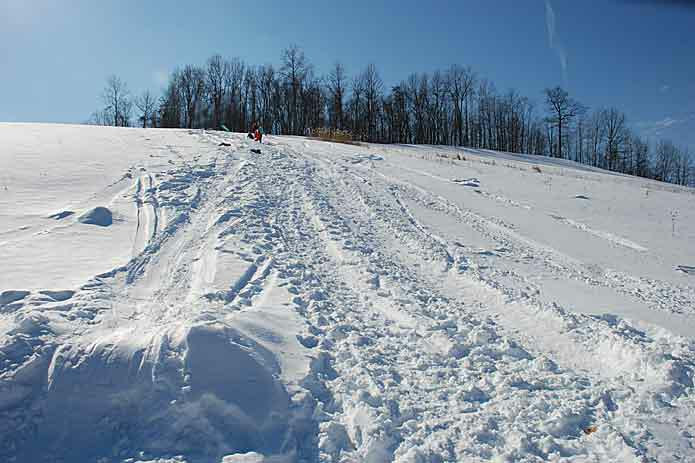 One of many sledding hills in the Cuyahoga Valley