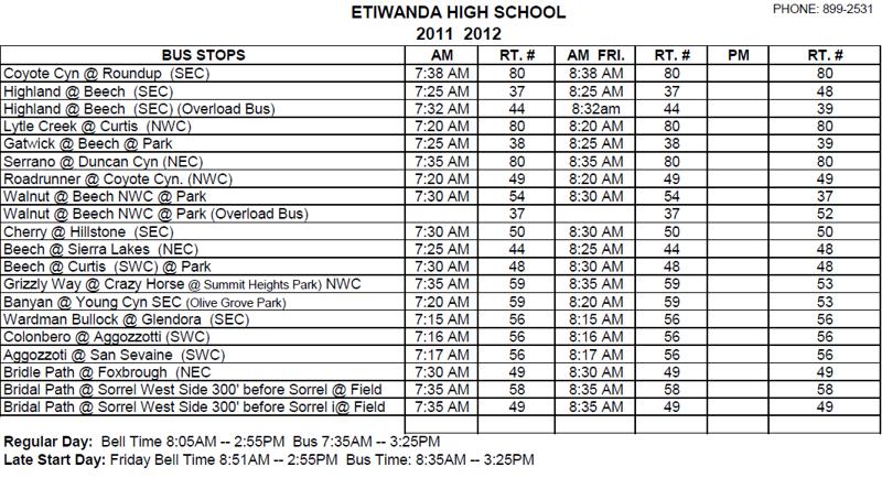 Etiwanda High School Bus Schedule