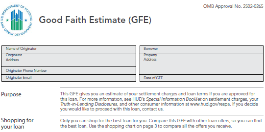 Printables Good Faith Estimate Worksheet some clarification from hud regarding good faith estimates gfes and use of worksheets to show settlement charges