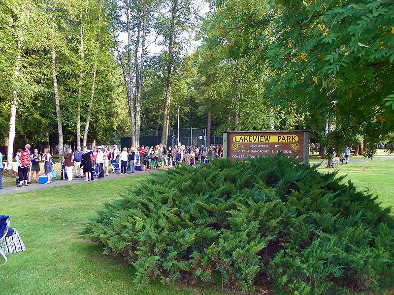 Waiting in line to enter the Festival at Sandpoint