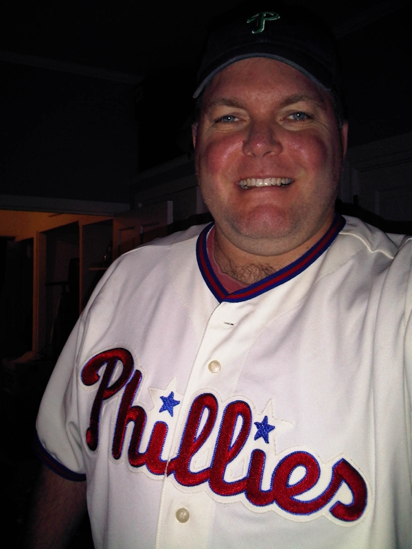 Jeff belonger with a Ryan Howard Phillies jersey