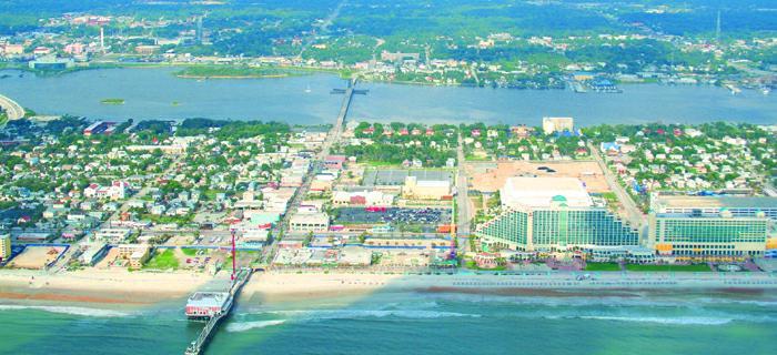 Daytona Beach Showing The Atlantic At Bottom And Halifax River Top