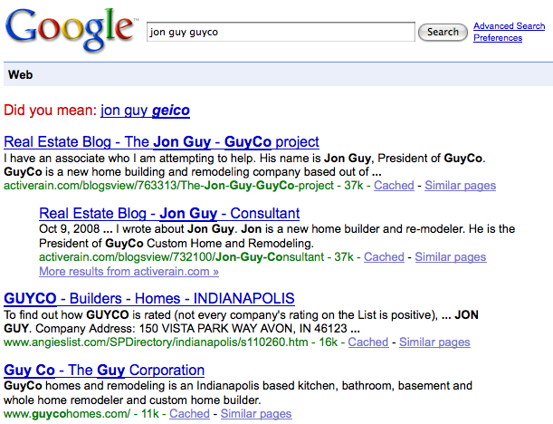 Google search results for Jon Guy GuyCo